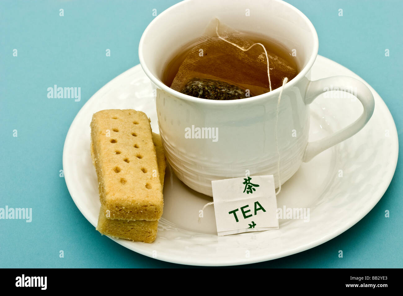 Cup of tea with shortbread biscuit - Stock Image