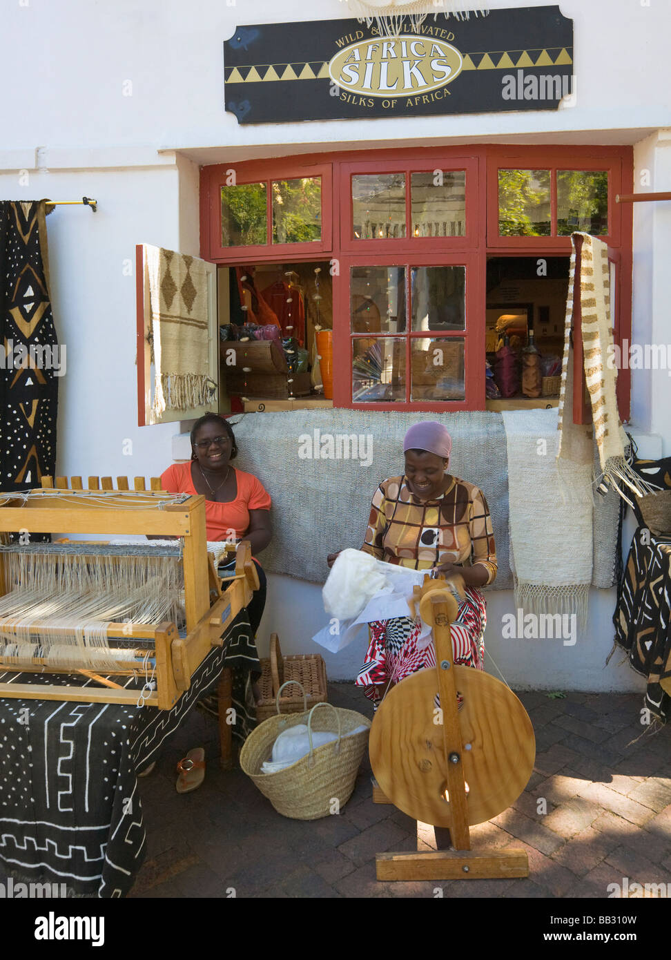 "African women weaving silk, Stellenbosch, ""South Africa"" Stock Photo"