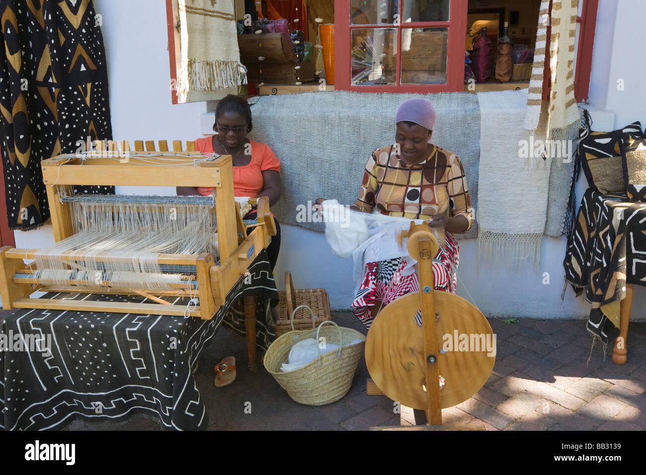African women weaving silk, Stellenbosch, 'South Africa' - Stock Image