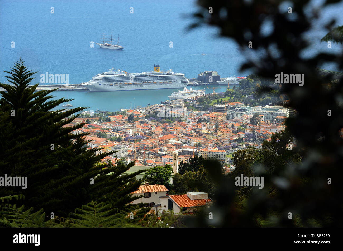 View of the over Funchal, the capital and main port of Madeira. - Stock Image