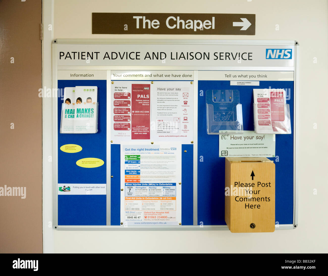 PALS (Patient Advice and Liaison Service) notice board and suggestion box  inside Wallingford Community Hospital, - Stock Image