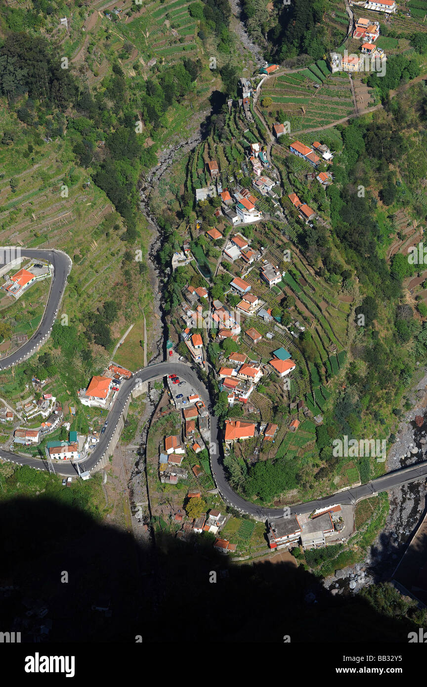 The view down into Nuns Valley (Curral das Freiras) from Eira do Serrado on the island of Madeira. - Stock Image