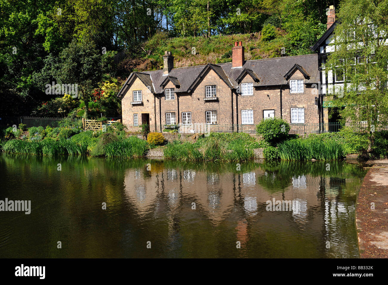 View of the pond and cottages in Eagle Brow, Lymm, Cheshire, England - Stock Image