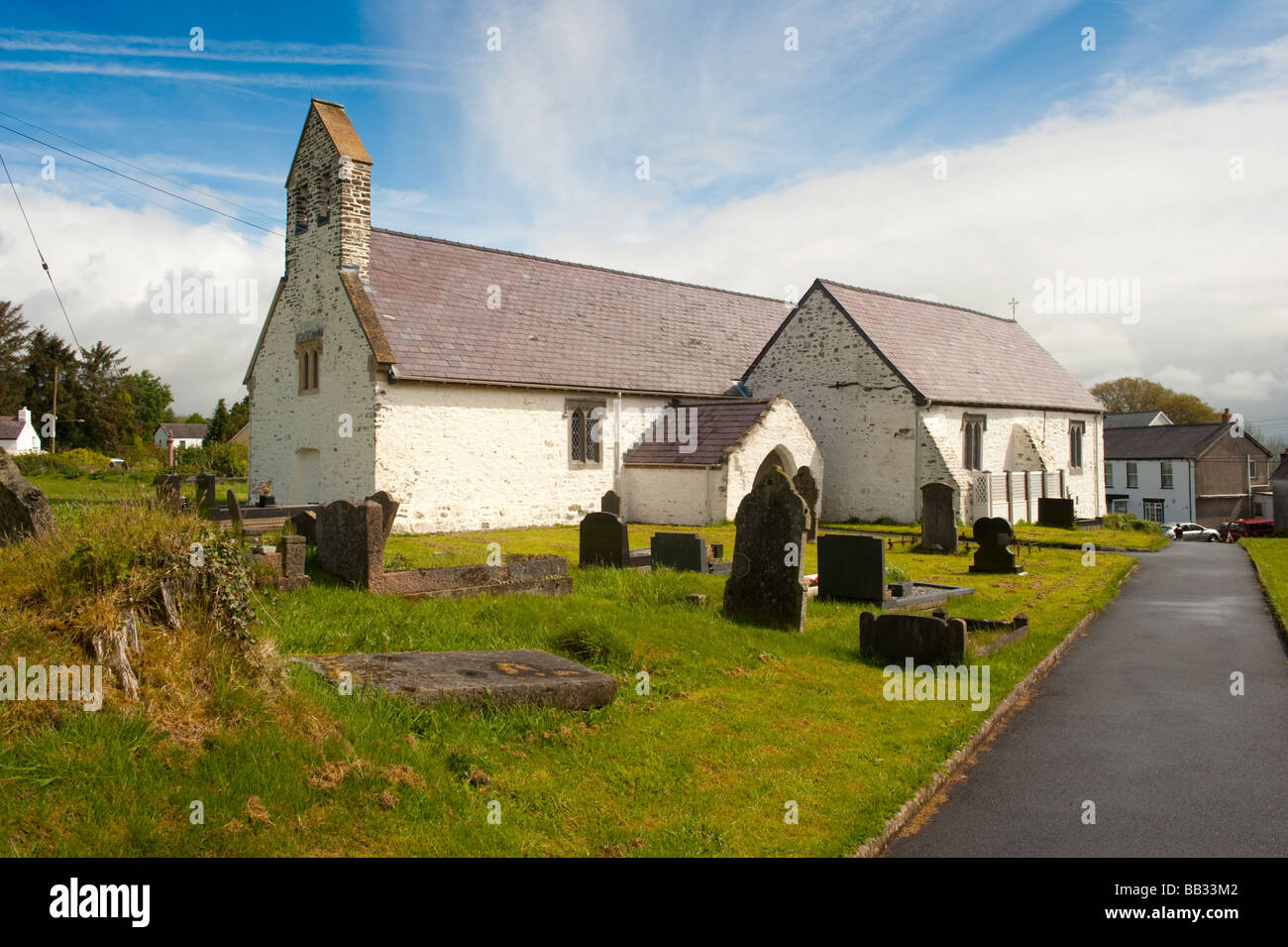 Llansadwrn village Church Carmarthenshire Wales UK - Stock Image