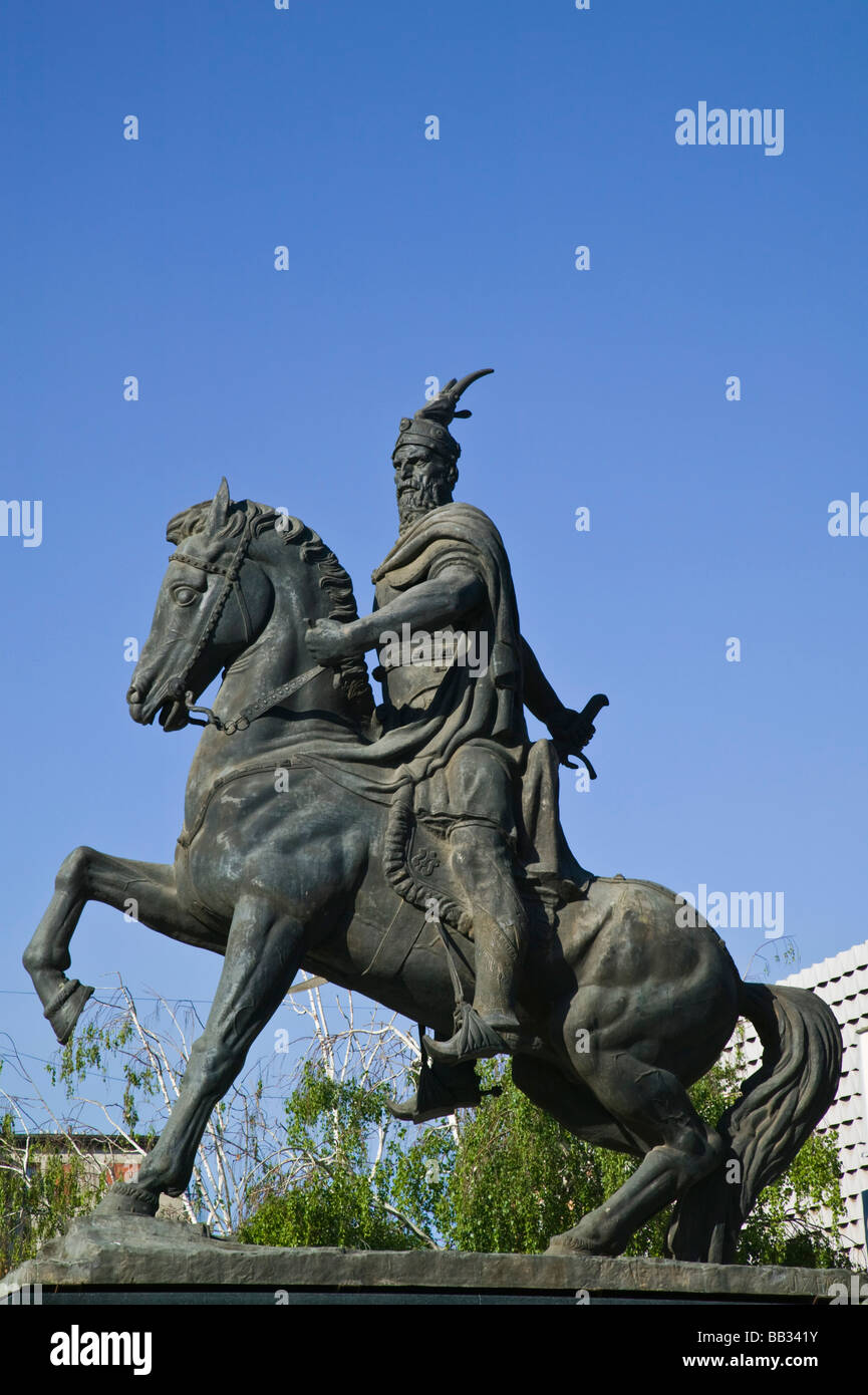KOSOVO, Prishtina. Statue of SKANDERBEG  Albanian National Hero, fought against Turkish Occupation Stock Photo