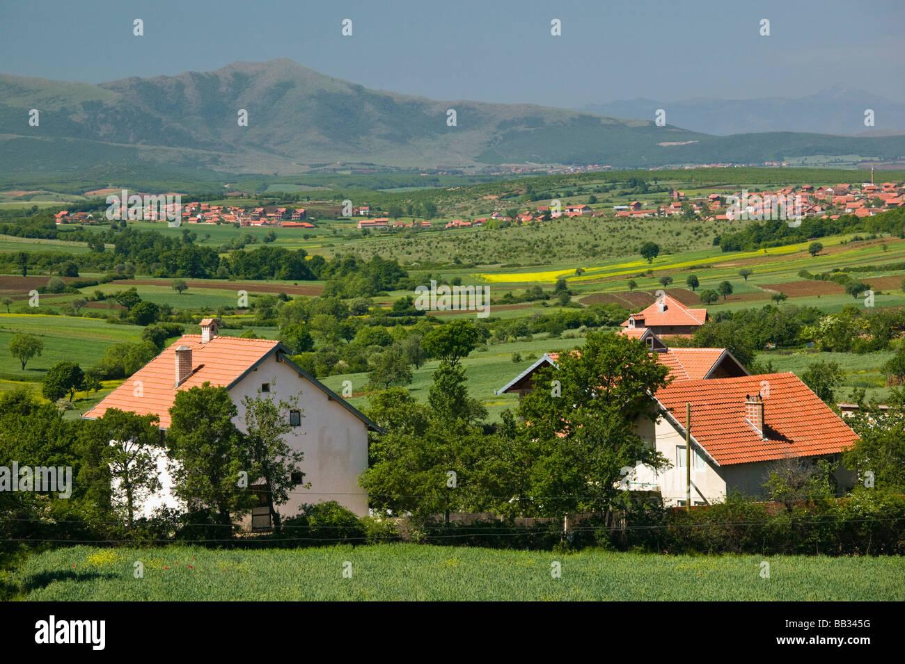 KOSOVO, Balince. View of Muslim village of BALINCE rebuilt after Kosovo War (1998-1999) - Stock Image