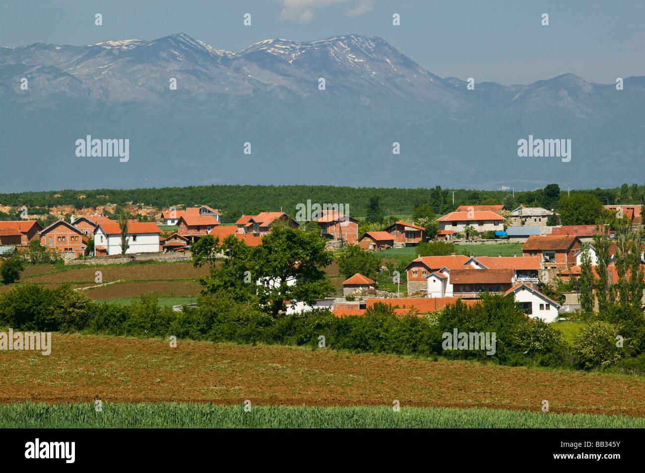 KOSOVO, Balince. View of Muslim village of BALINCE rebuilt after Kosovo War (1998-1999) Stock Photo