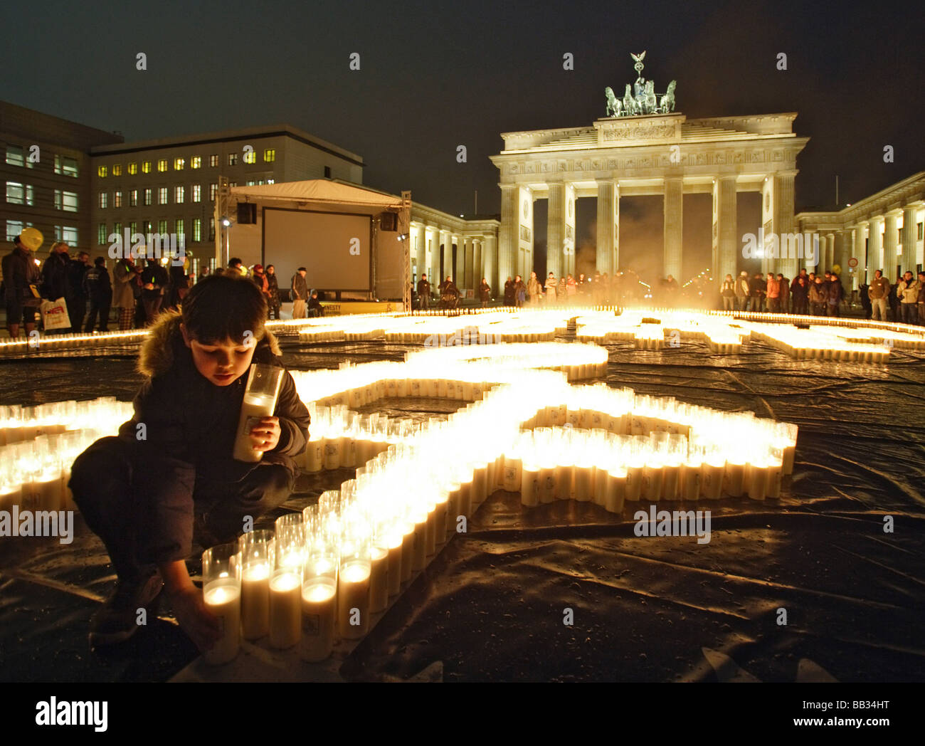 Celebration of the 60th anniversary of the Universal Declaration of Human Rights at Brandenburger Gate - Stock Image