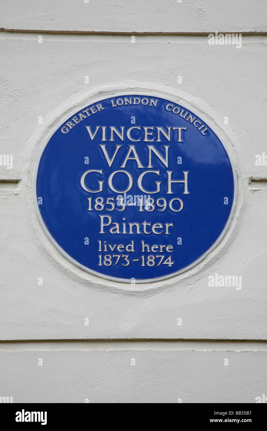 Blue plaque for Vincent Van Gogh at 87 Hackford Road, Stockwell, London, UK - Stock Image