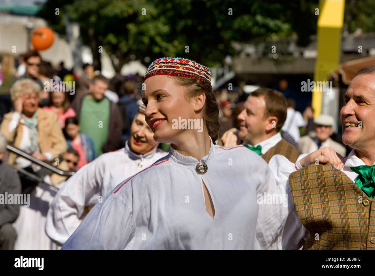 A traditional Latvian dancer at the Thames Festival, London, UK 2008 - Stock Image