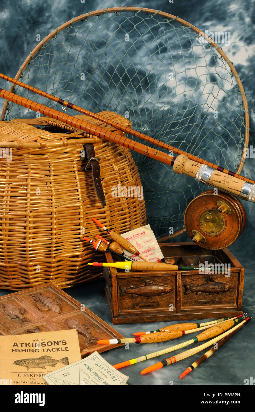 Antique Fishing Equipment : Vintage fishing tackle stock photo alamy