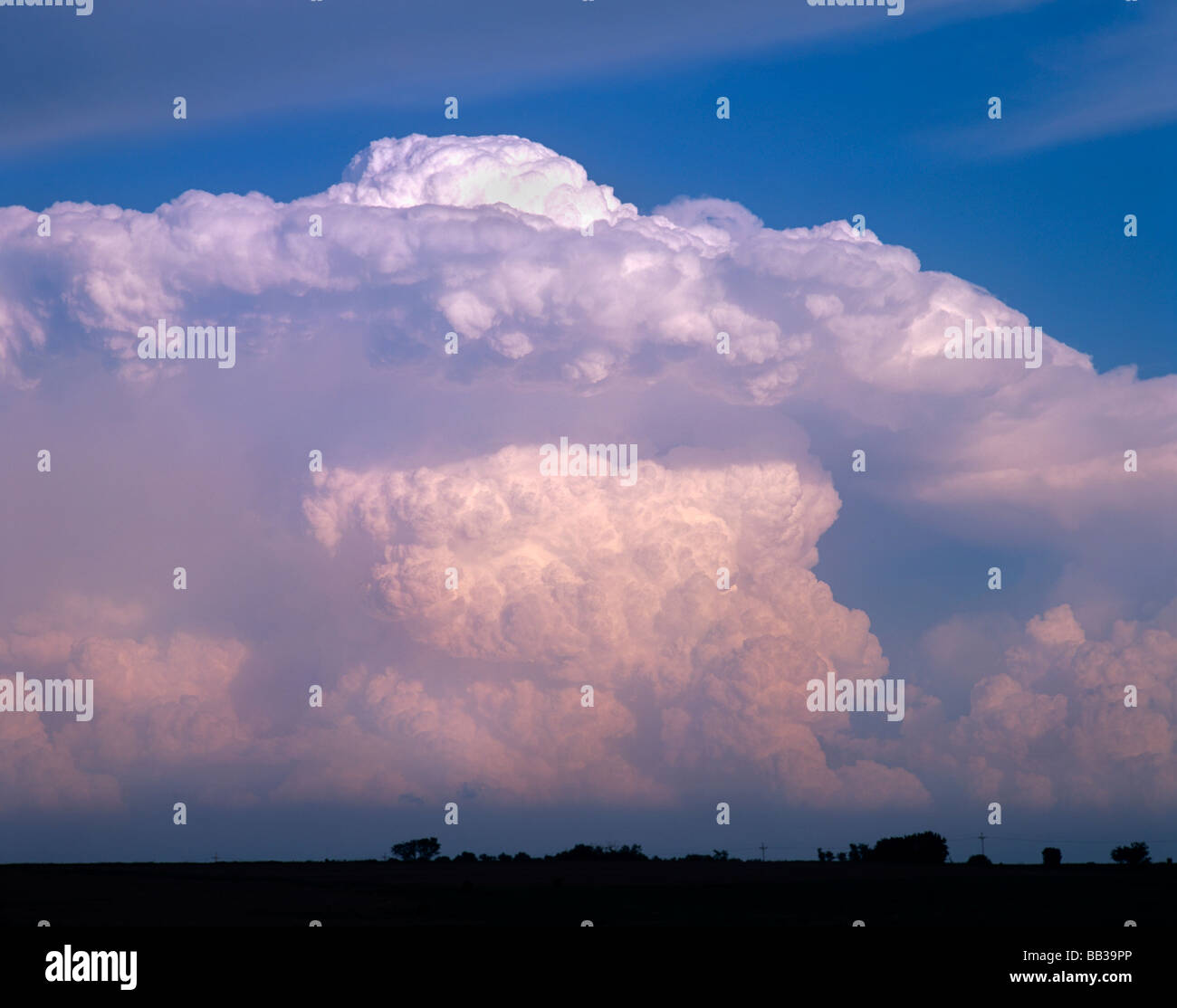 Explosive storm cloud development, appears like an atomic explosion in North Kansas, USA Stock Photo