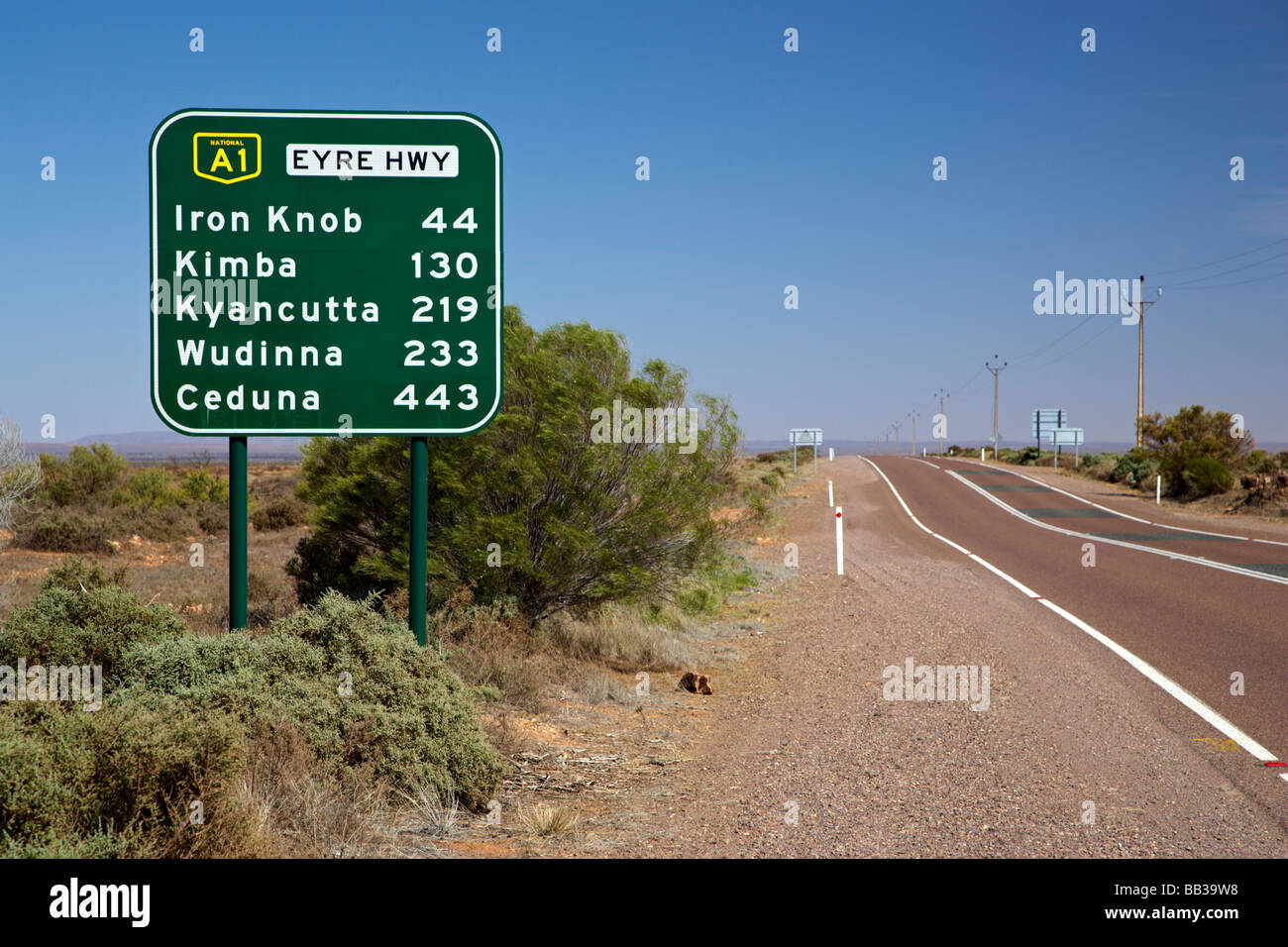 Road sign on the Eyre Highway in South Australia heading to Perth in West Australia - Stock Image