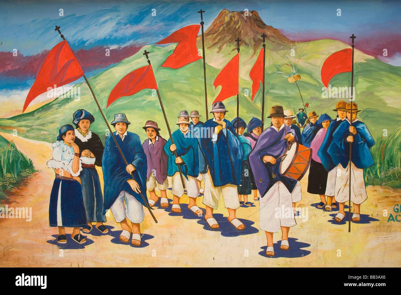 South America, Ecuador, Otavalo,  Plaza de Ponchos, mural - Stock Image