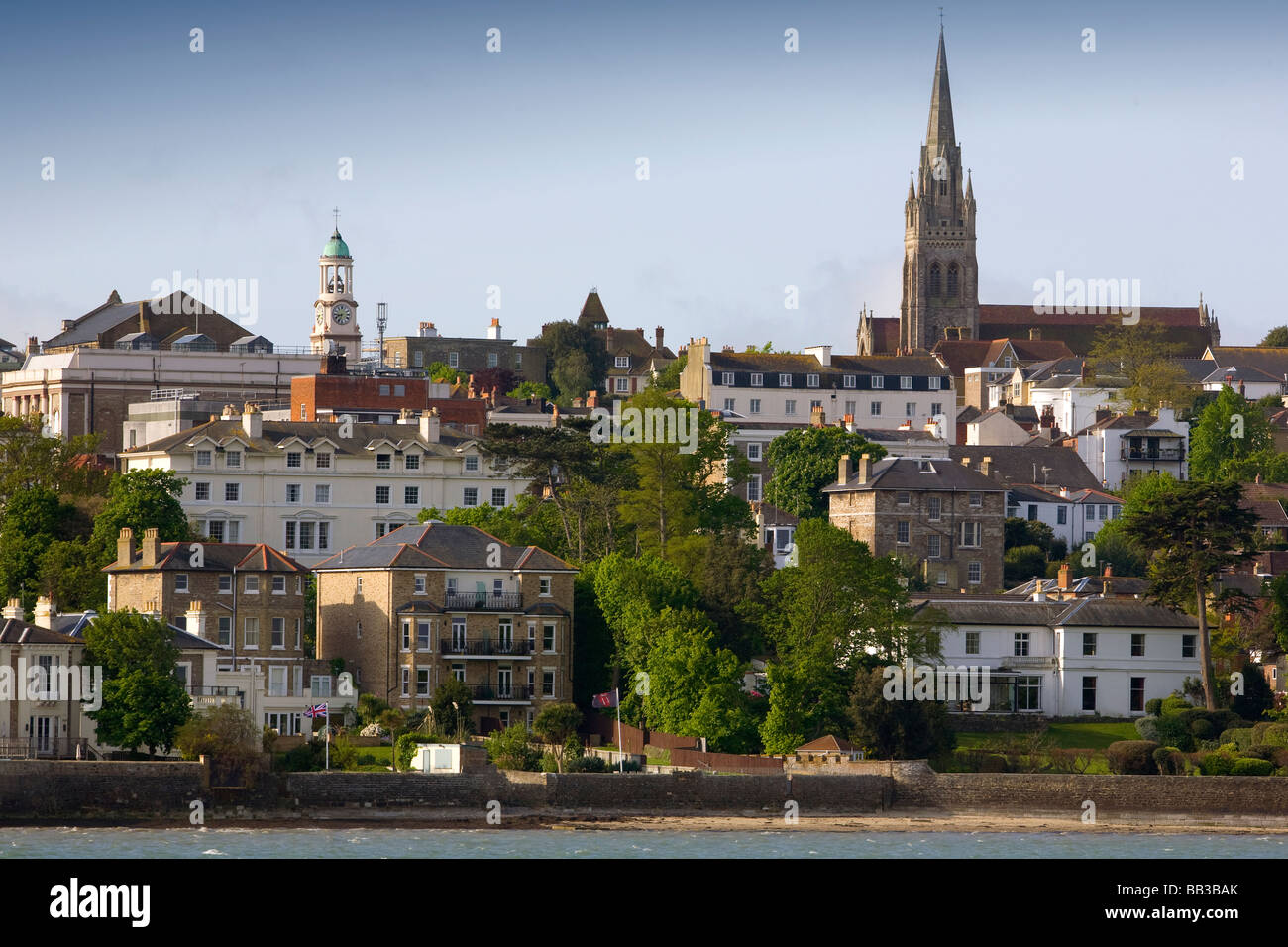 UK England Isle of Wight All Saints Church Pier Seafront Ryde - Stock Image