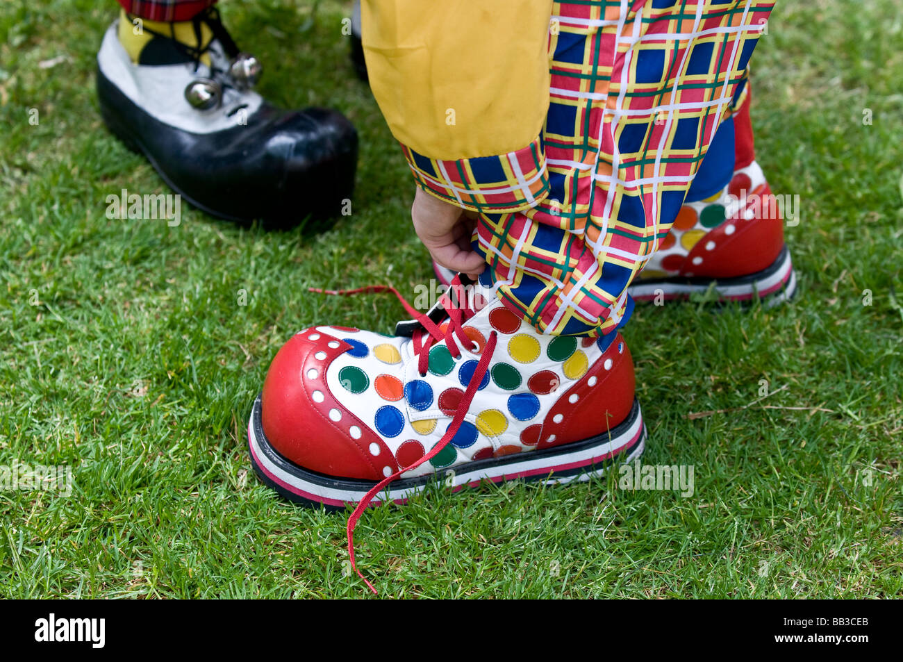 Large clown boots. - Stock Image