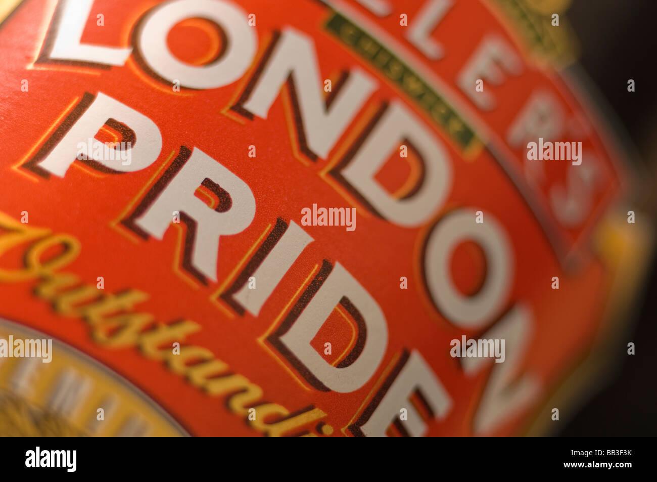 Fullers of Chiswick London Pride beer bottle label closeup - Stock Image