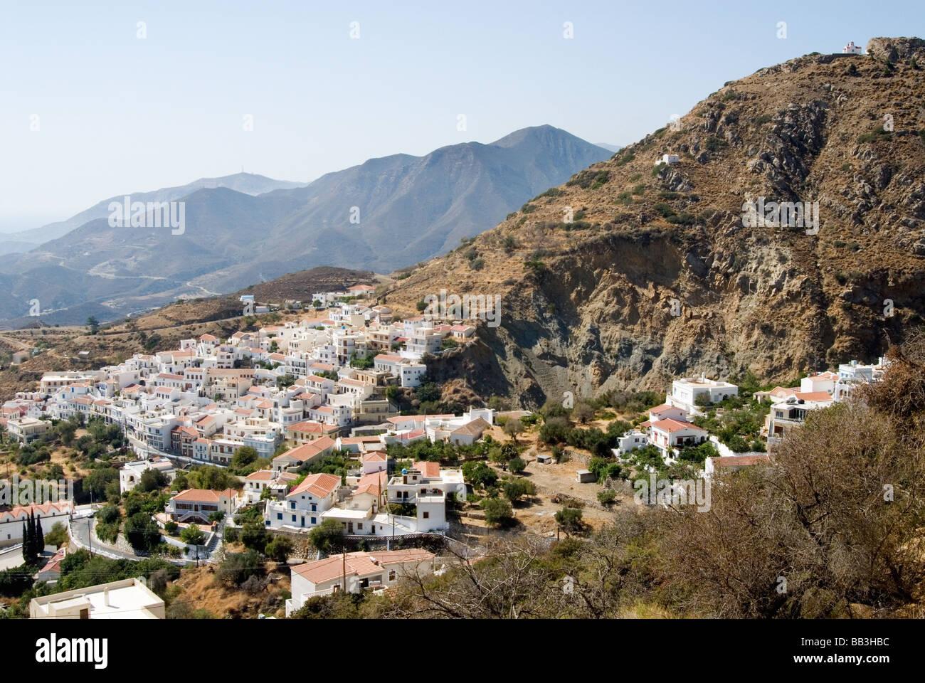 Greek Island Karpathos: Mountain village Aperi Stock Photo