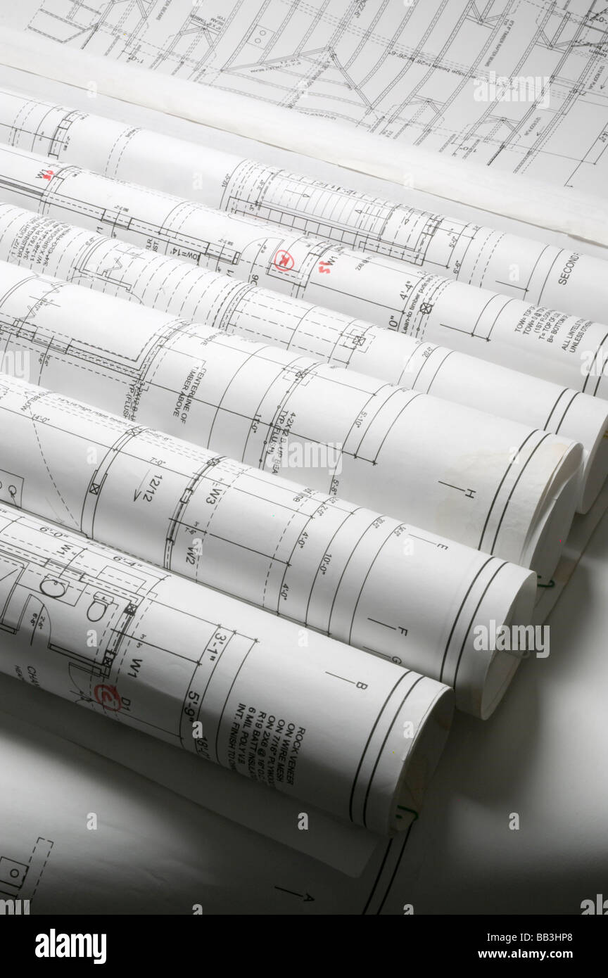 Rolled up blueprints - Stock Image