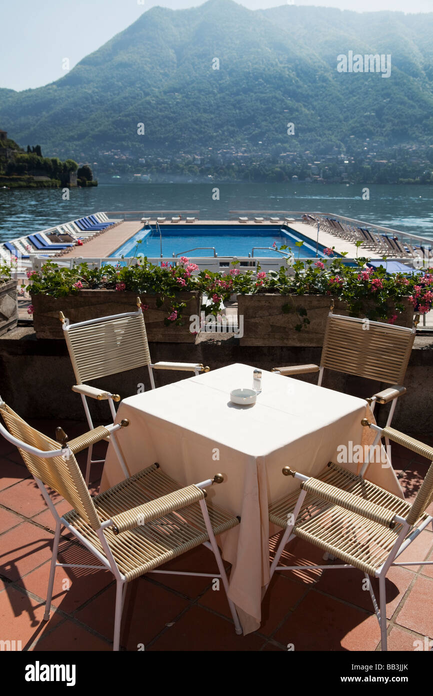 BAR TABLE WITH CHAIRS IN FRONT OF THE FLOATING POOL ON THE LAKE COMO AT VILLA Du0027ESTE LUXURY 5 STARS HOTEL IN CERNOBBIO ITALY & BAR TABLE WITH CHAIRS IN FRONT OF THE FLOATING POOL ON THE LAKE COMO ...