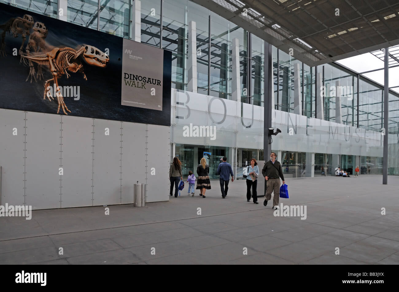 Exterior main entrance to Melbourne Museum Australia This is a modern building with an exhibition of dinosaurs - Stock Image