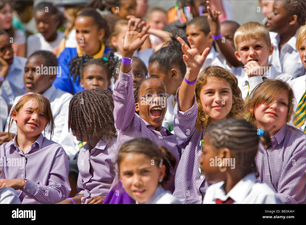 Schoolchildren in choir at the Thames festival, London, UK - Stock Image