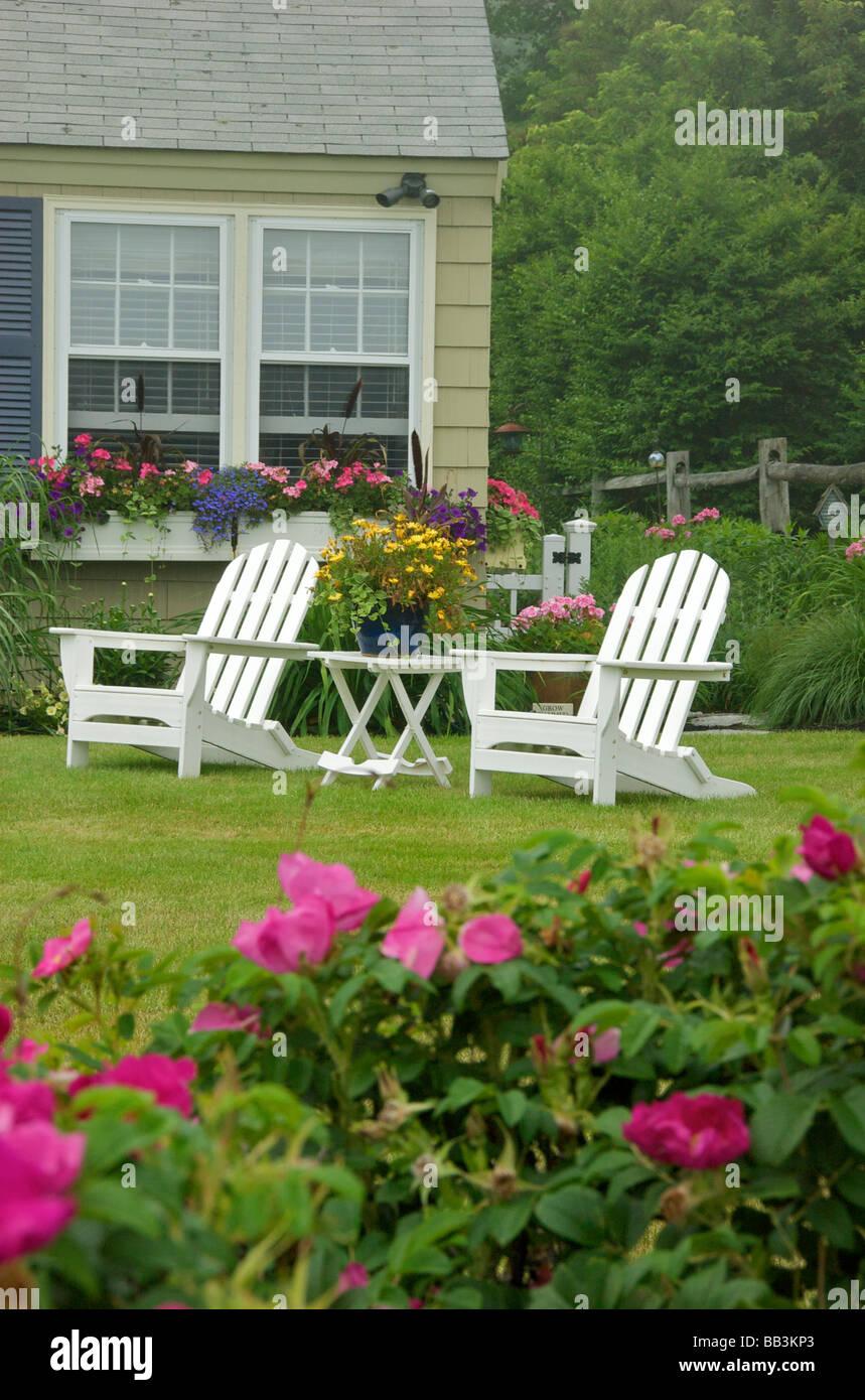 USA, New England, Maine, Ogunquit, backyard along Marginal ...