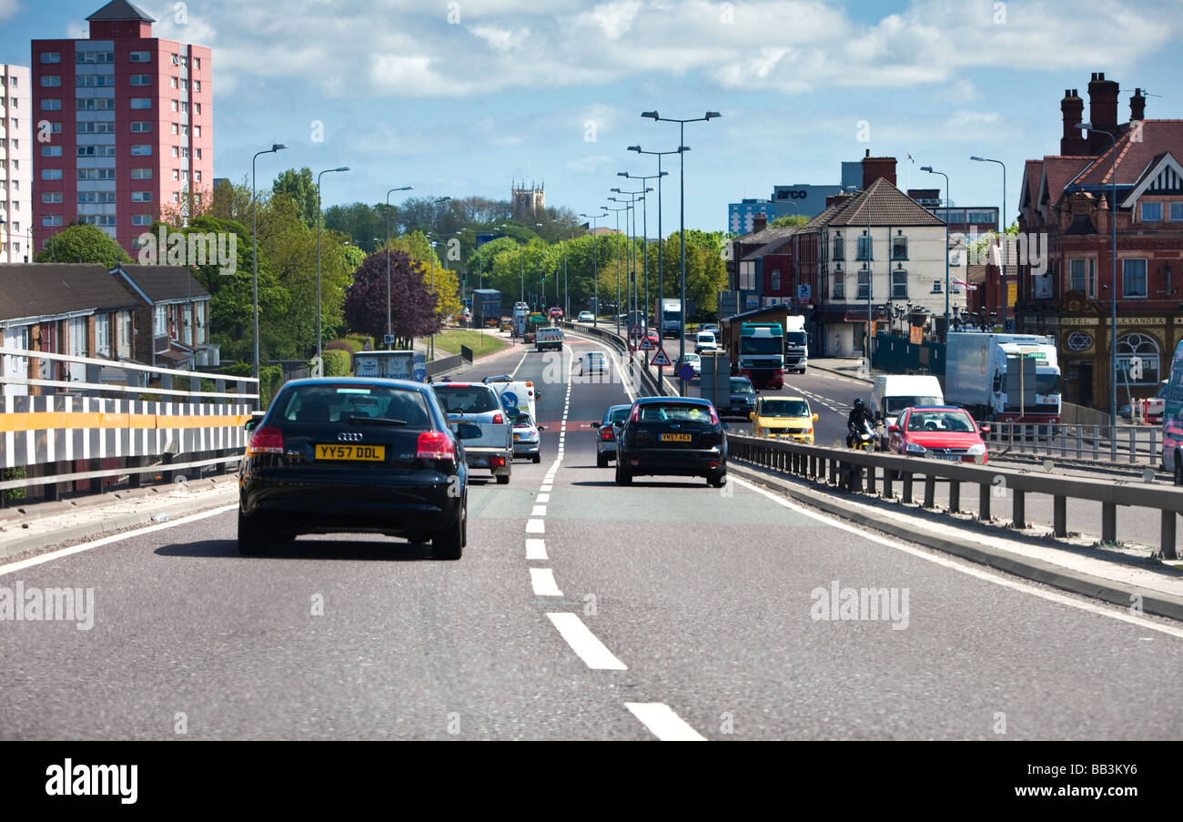 Driving on the A63 dual carriageway road route east into Hull city centre, England, UK - Stock Image
