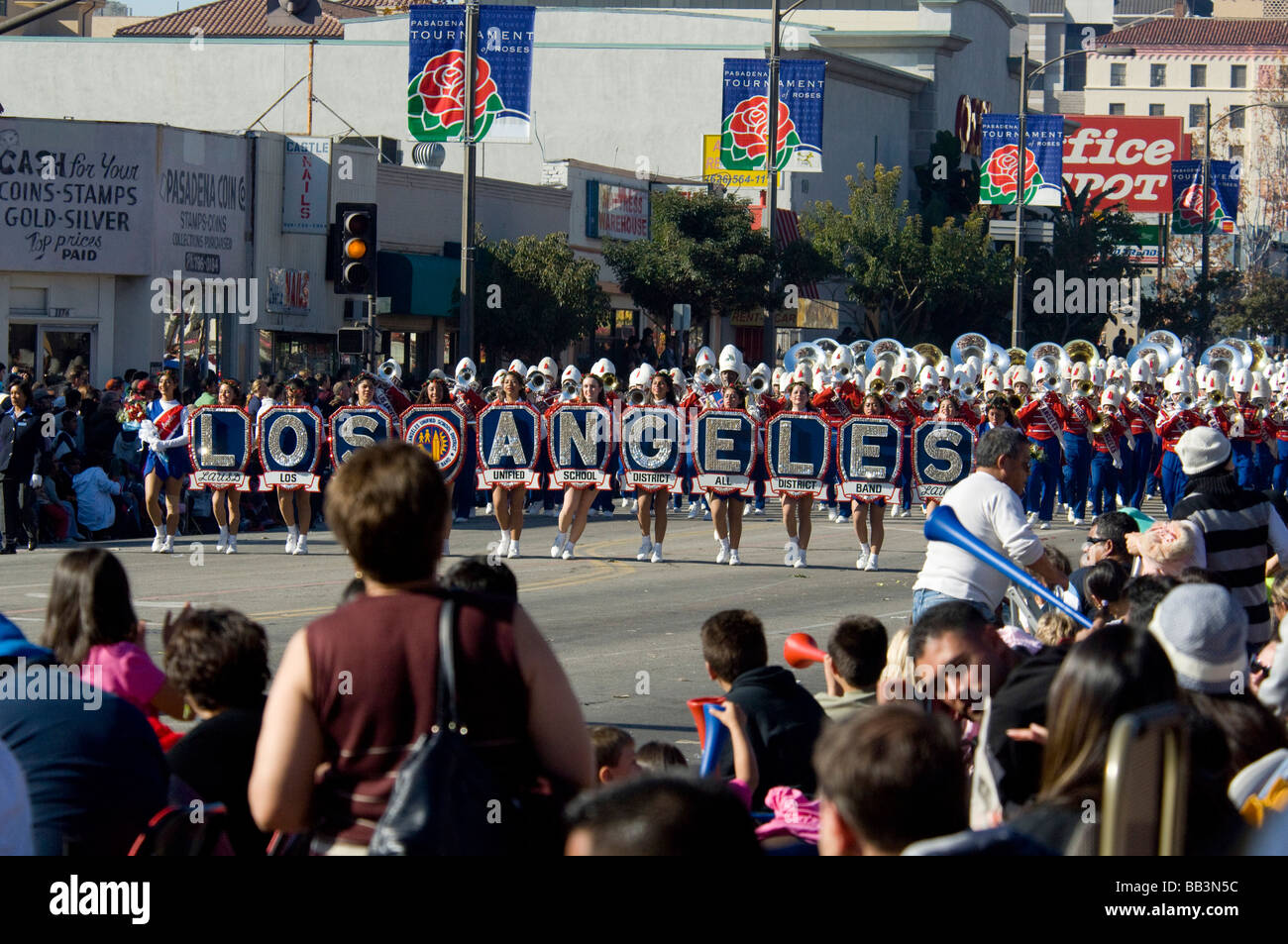 California, Pasadena. 2009 Tournament of Roses, Rose Parade. LAUSD All District High School Honor Band. - Stock Image