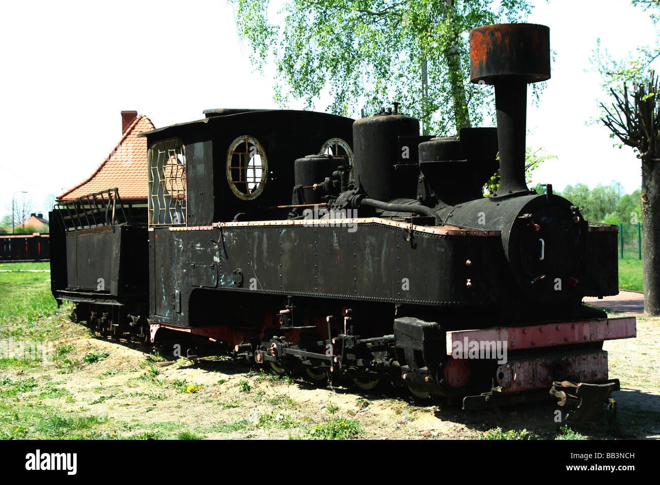 Old, unused locomotive in Hajnówka, Bialowieza National Park, Poland - Stock Image