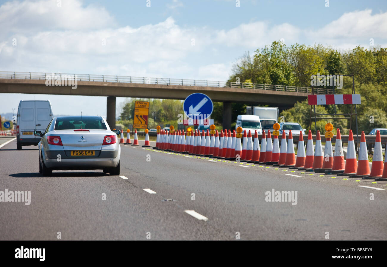 Driving through a roadworks contraflow system on a UK motorway - Stock Image