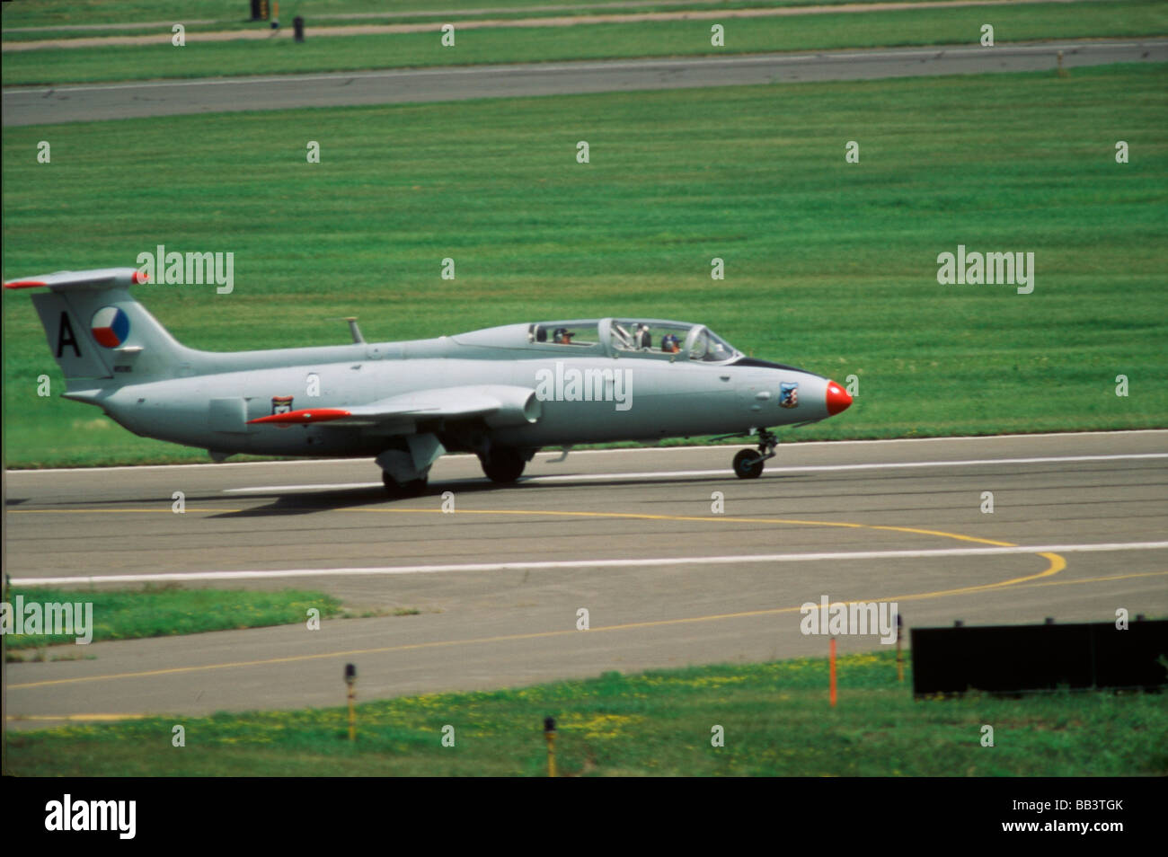 Aero Vodochody L-29 Delfin with Czech Republic markings at the CAF Air Show - Stock Image