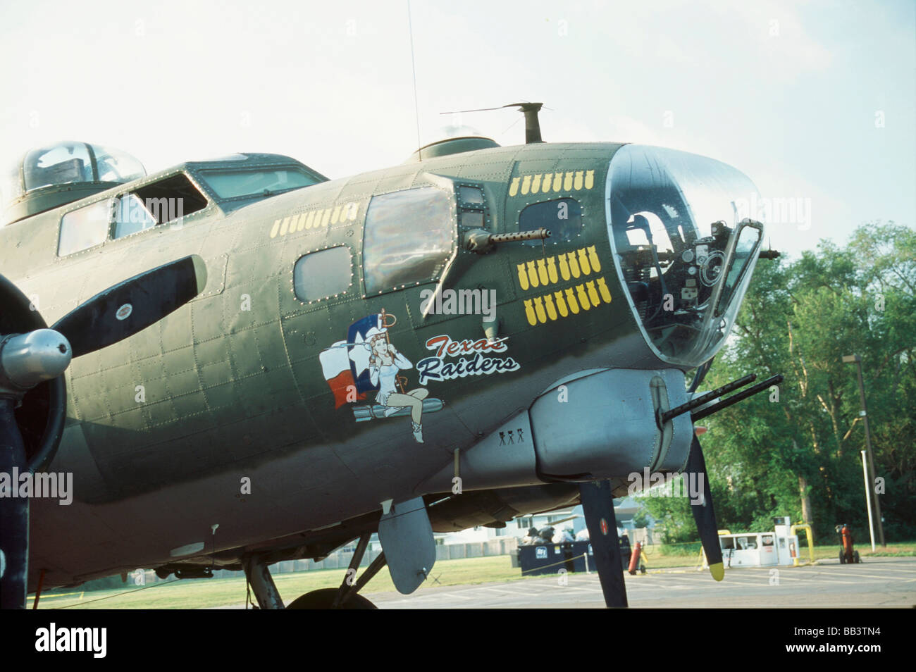 B-17 G Flying Fortress, close up of the nose and cockpit of this plane Stock Photo
