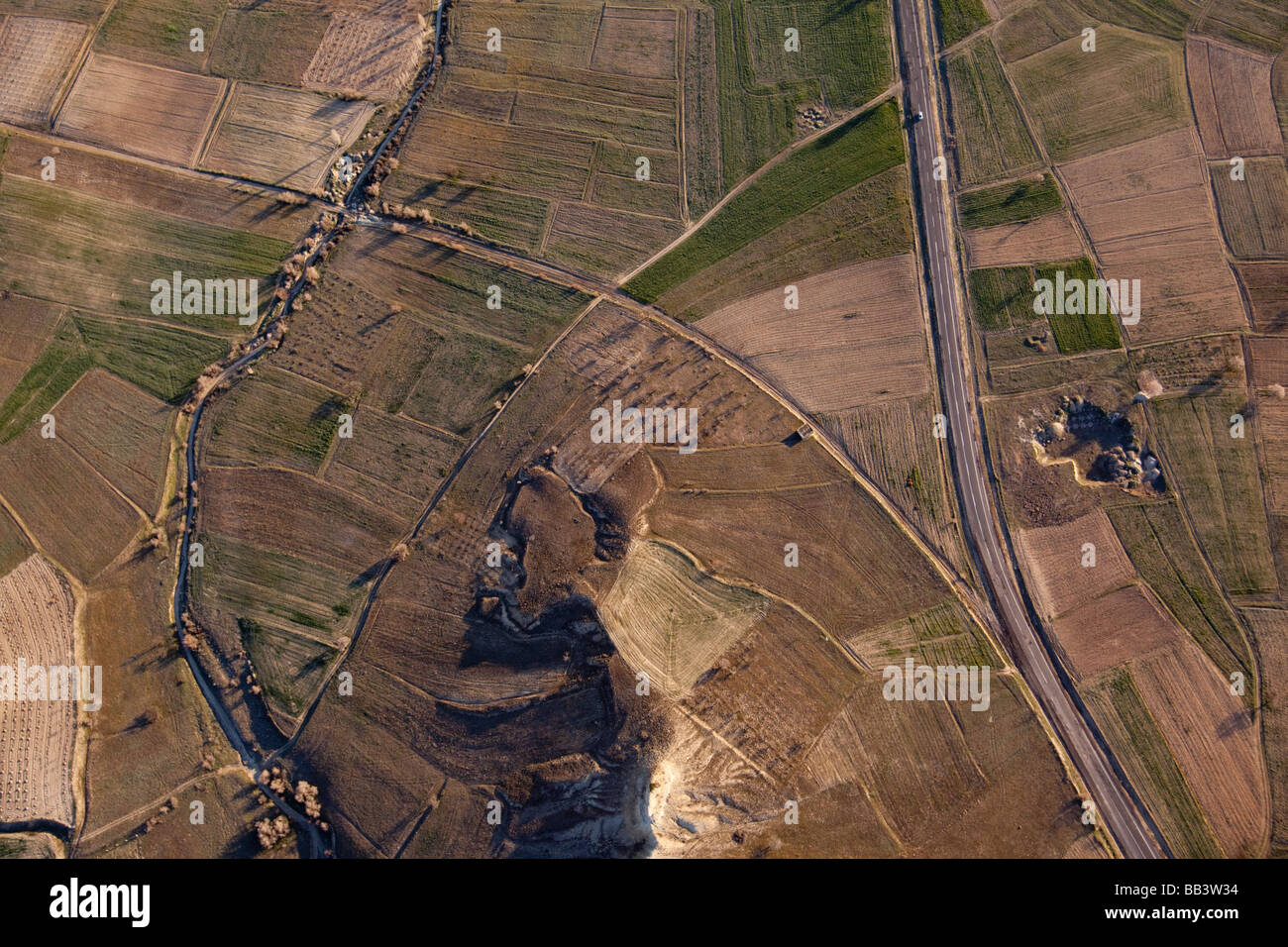 Arial view of fields and roads in Cappadocia Turkey - Stock Image