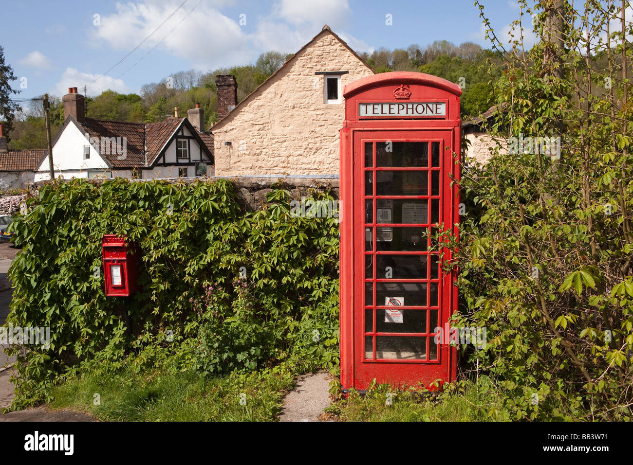 UK Gloucestershire Forest of Dean Wye Valley Brockweir village red phone box - Stock Image