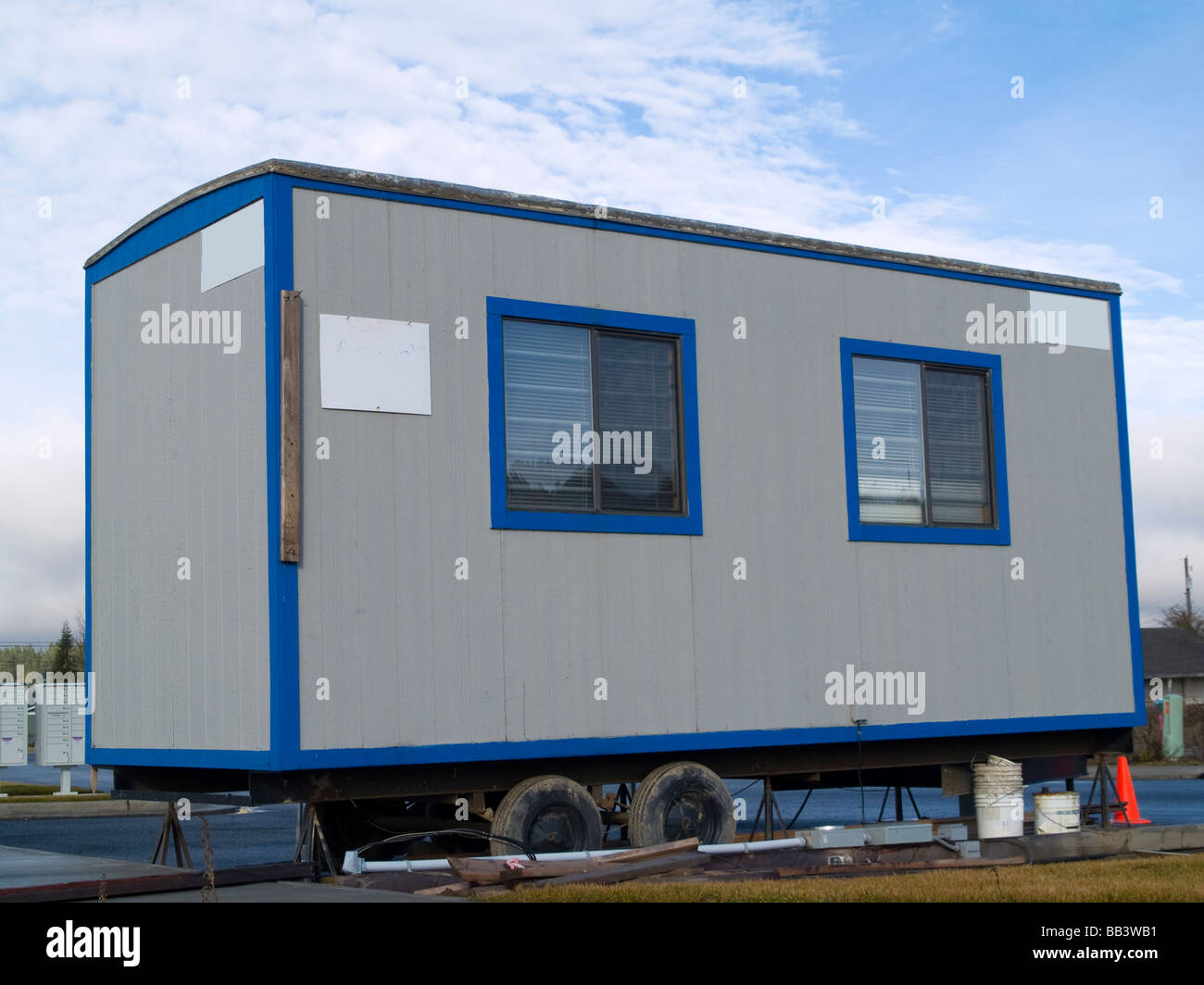 small portable office. A Small Portable Office On Wheels At Construction Site Warm Sunny Day P