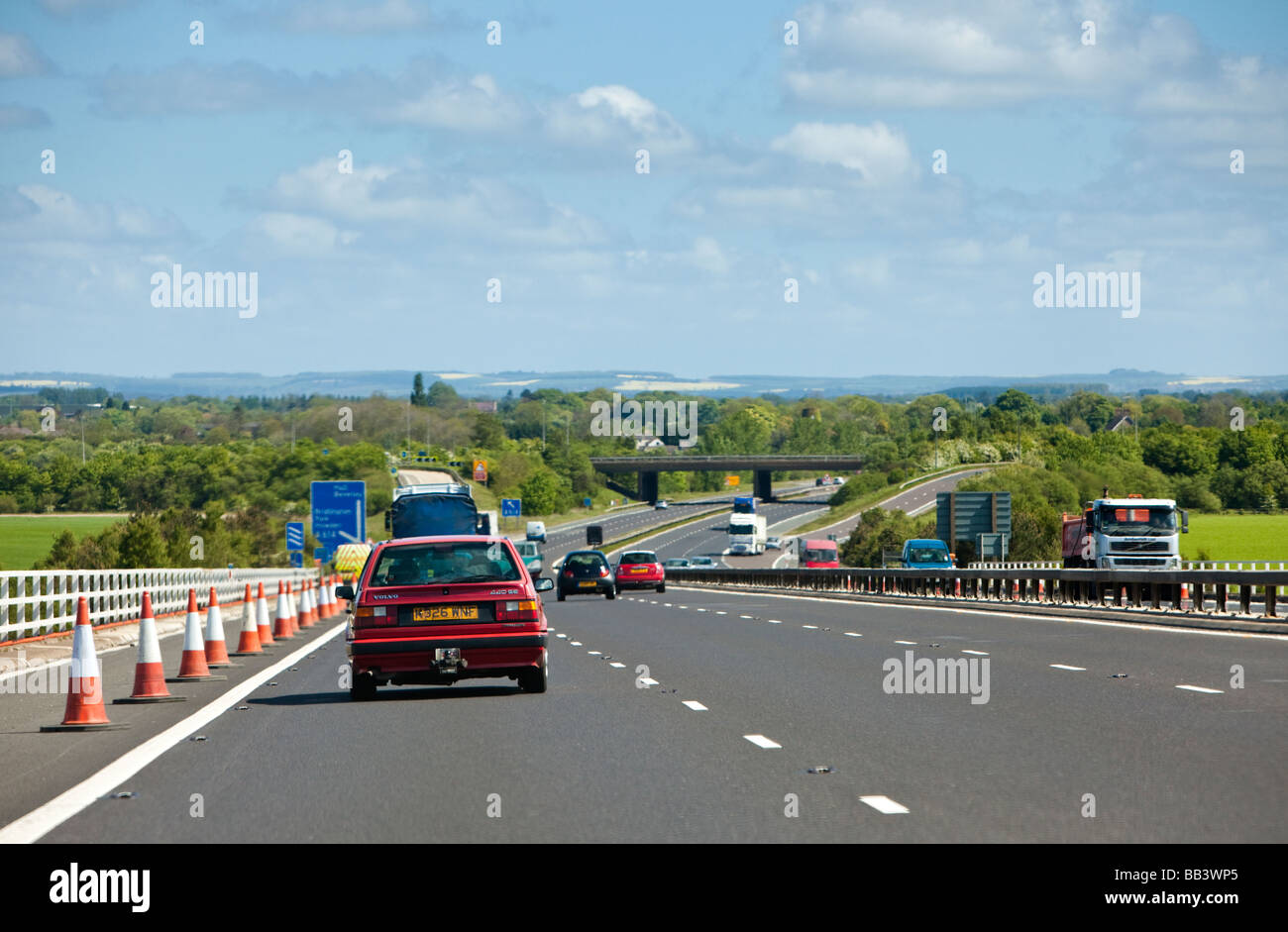 Cars driving uk, on a motorway, M62, England, UK - Stock Image