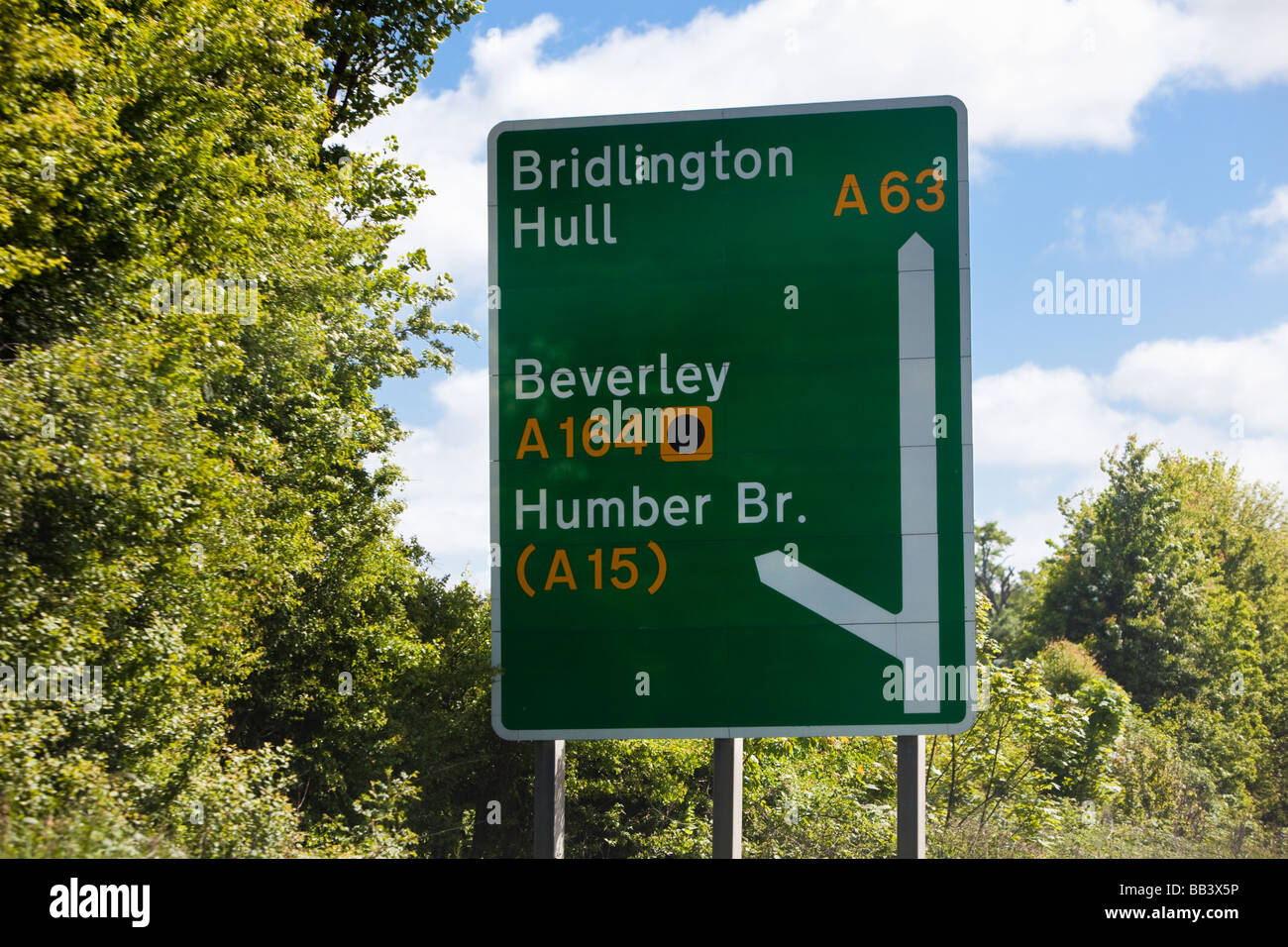 A road primary route sign with junction information England UK - Stock Image