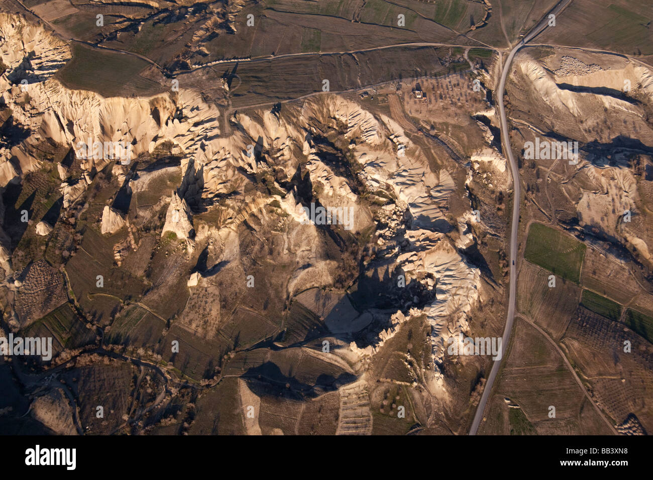 Aerial view of the rough terrain in Cappadocia Turkey - Stock Image