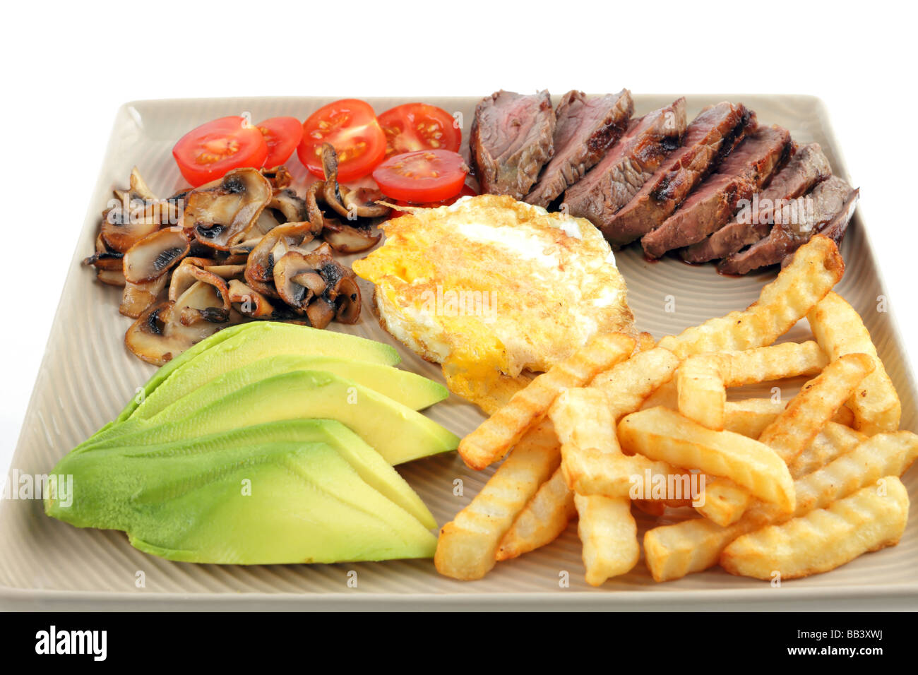 Steak dinner with egg and chips tomato avocado mushrooms - Stock Image