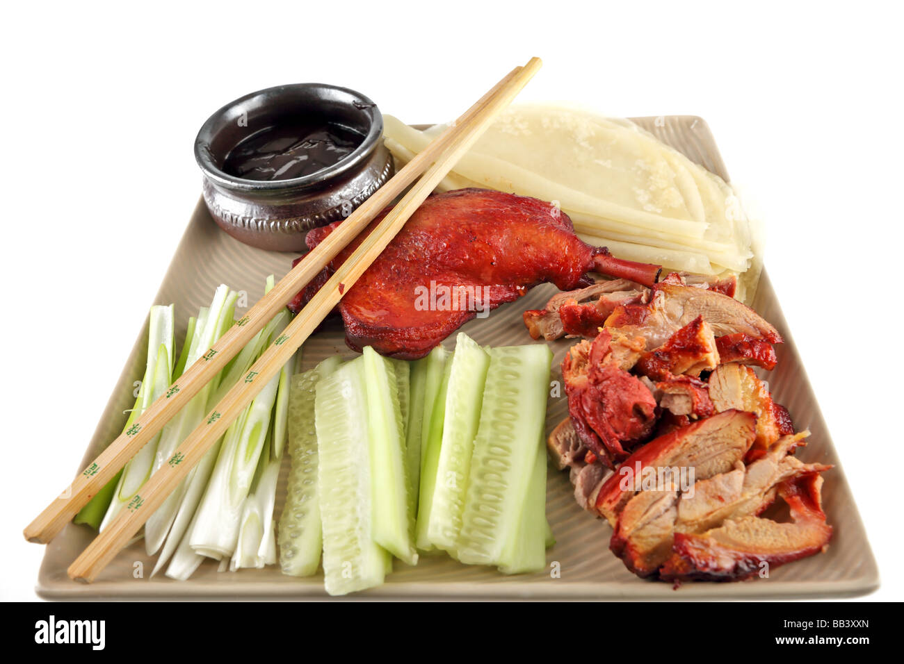 Peking duck a chinese delicacy with pancakes and hoisin sauce - Stock Image