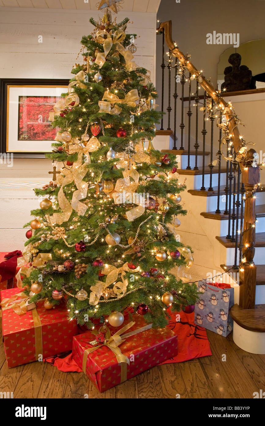 Christmas Tree, Presents, And Decorations In An American Home