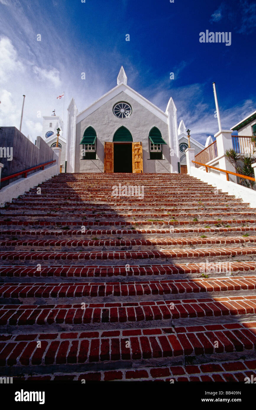 Low Angle View of Steps Leading Up To a Church St Peter s Church St George Bermuda - Stock Image