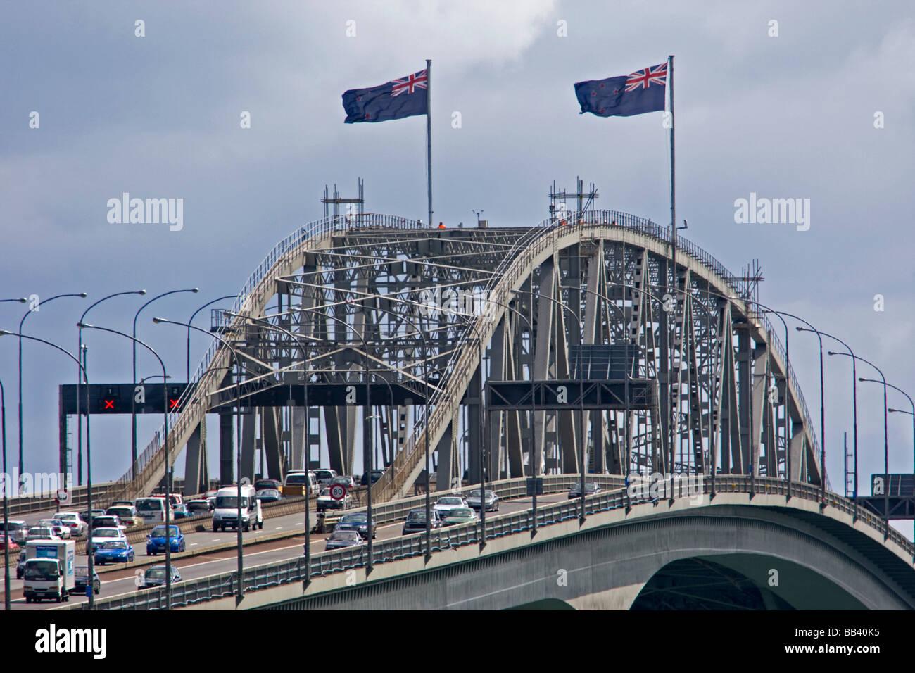 Auckland Harbour Bridge Auckland New Zealand - Stock Image