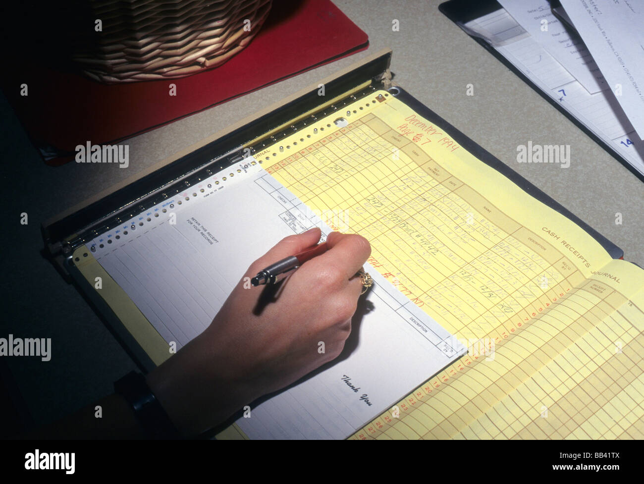 Hand write receipt form record account pen pencil pay detail office ...