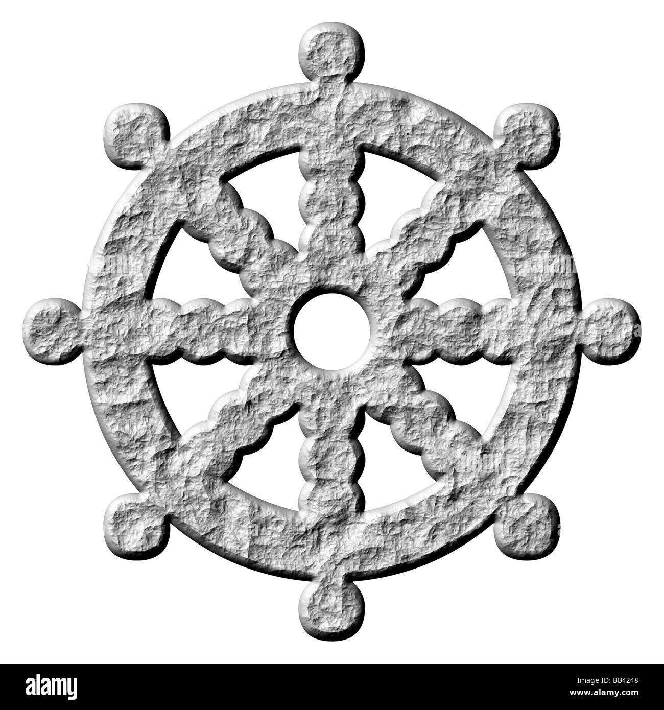 3d stone buddhism symbol wheel of dharma - Stock Image