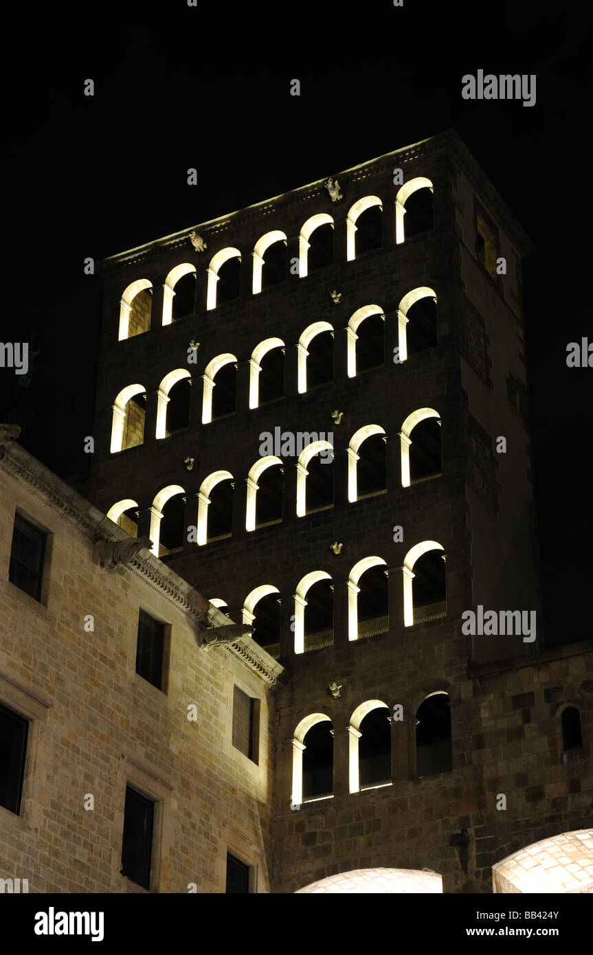 Ancient Building at Placa del Rei in Barcelona, Spain - Stock Image