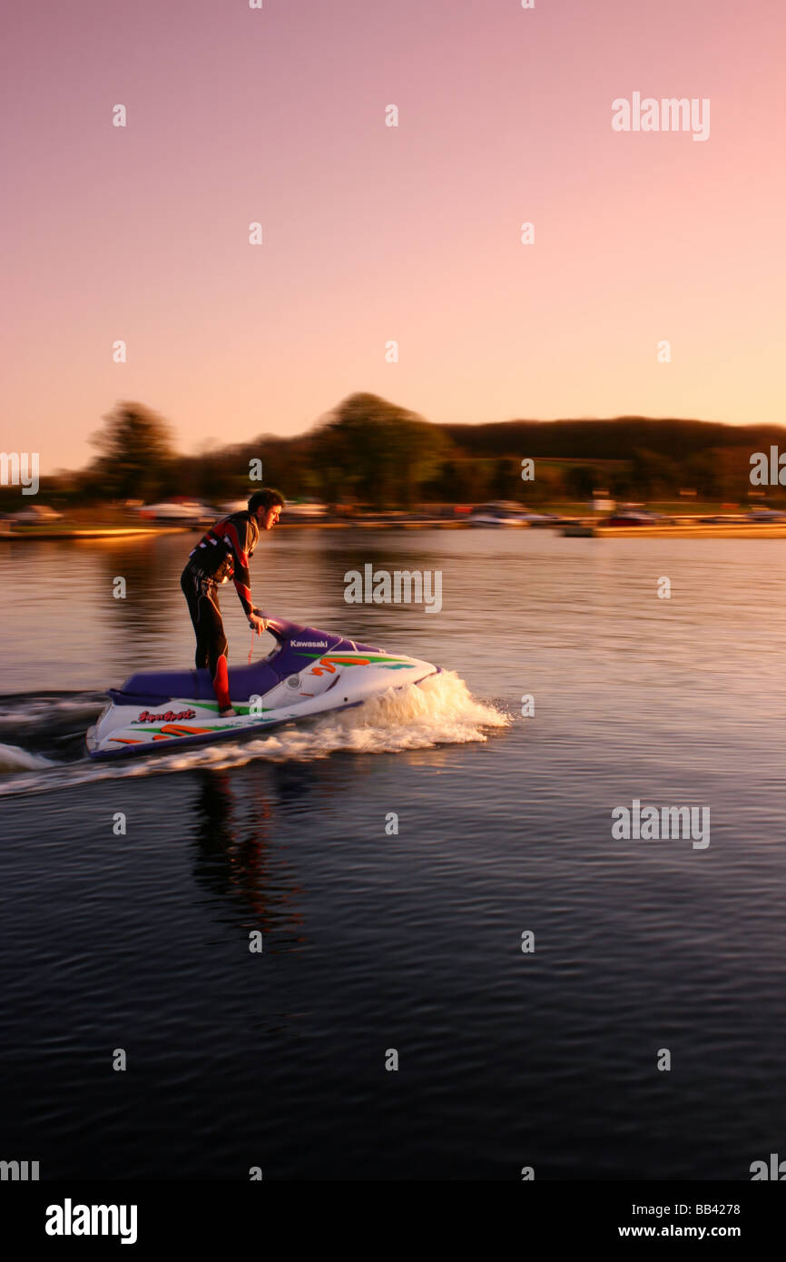 jet-skier at Muckross Quay, Lough Erne, County Fermanagh, Northern Ireland - Stock Image