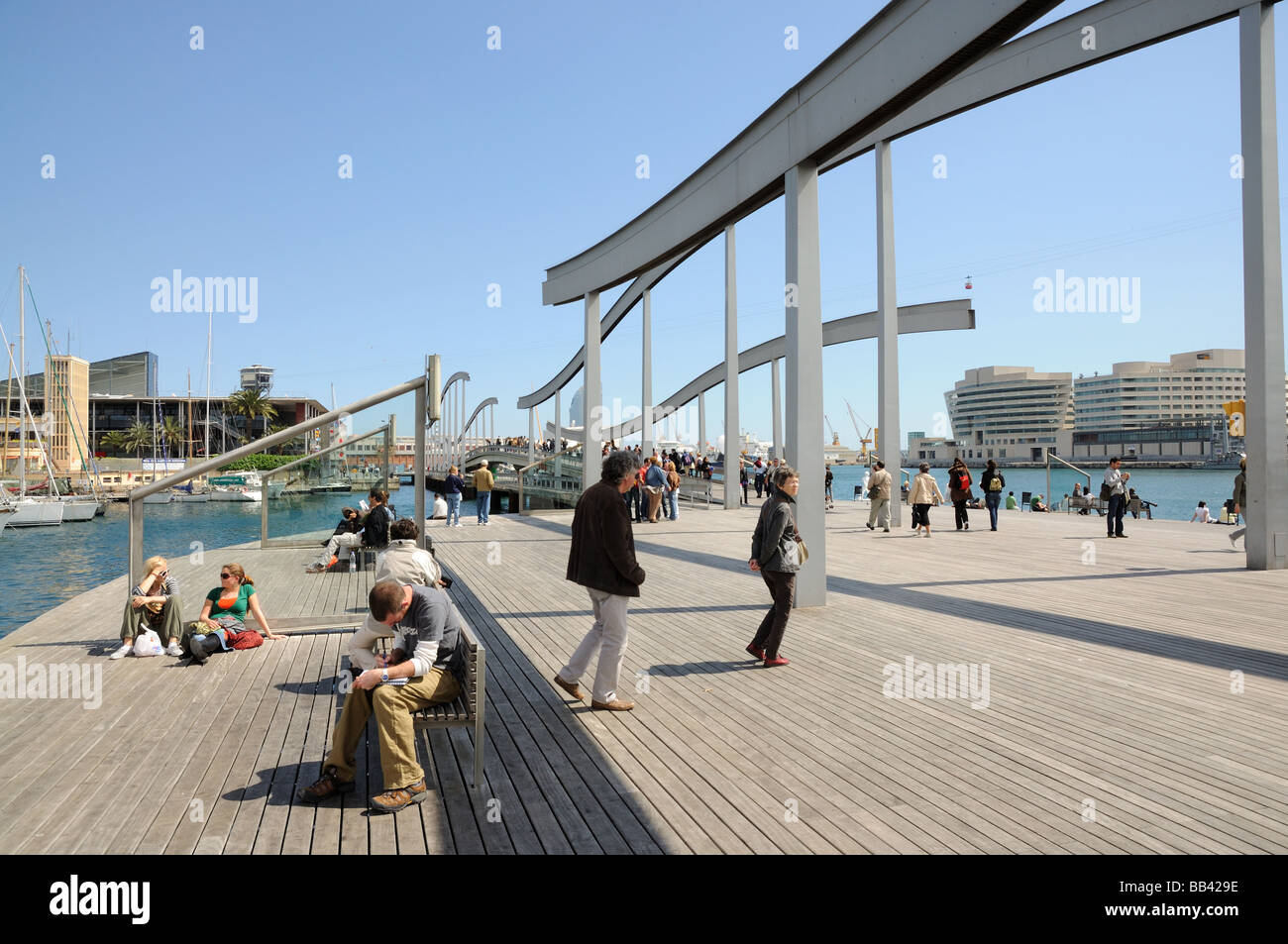 Rambla de Mar in Barcelona, spain Stock Photo