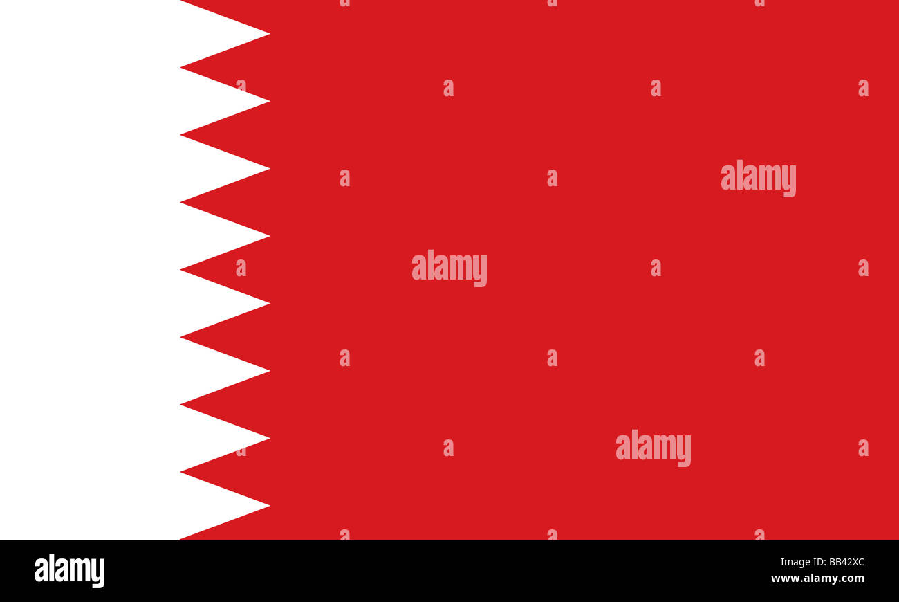 Historical flag of Bahrain, an island country in the Persian Gulf, from 1972 to 2002. - Stock Image